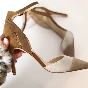 Marc Fisher D'orsay Ankle Straps Suede Heels EUC